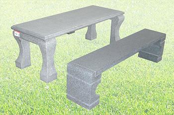石のテーブル・椅子セット